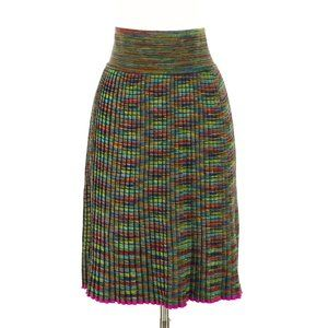 Missoni Colorful Soft Pleated Wool Knit Skirt 42